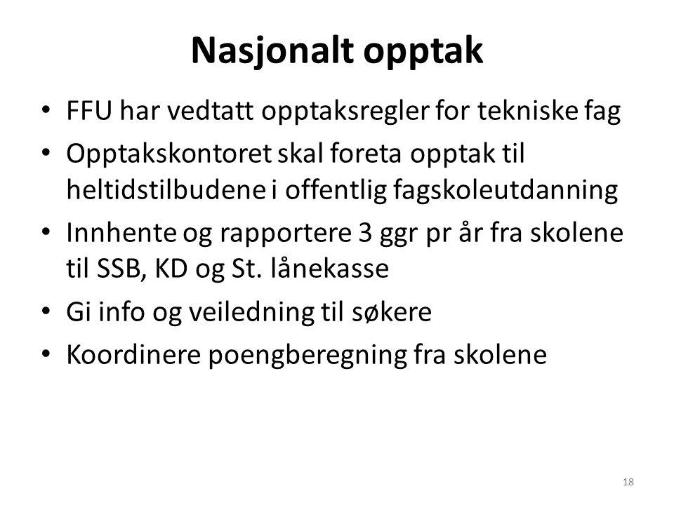 Nasjonalt opptak FFU har vedtatt opptaksregler for tekniske fag