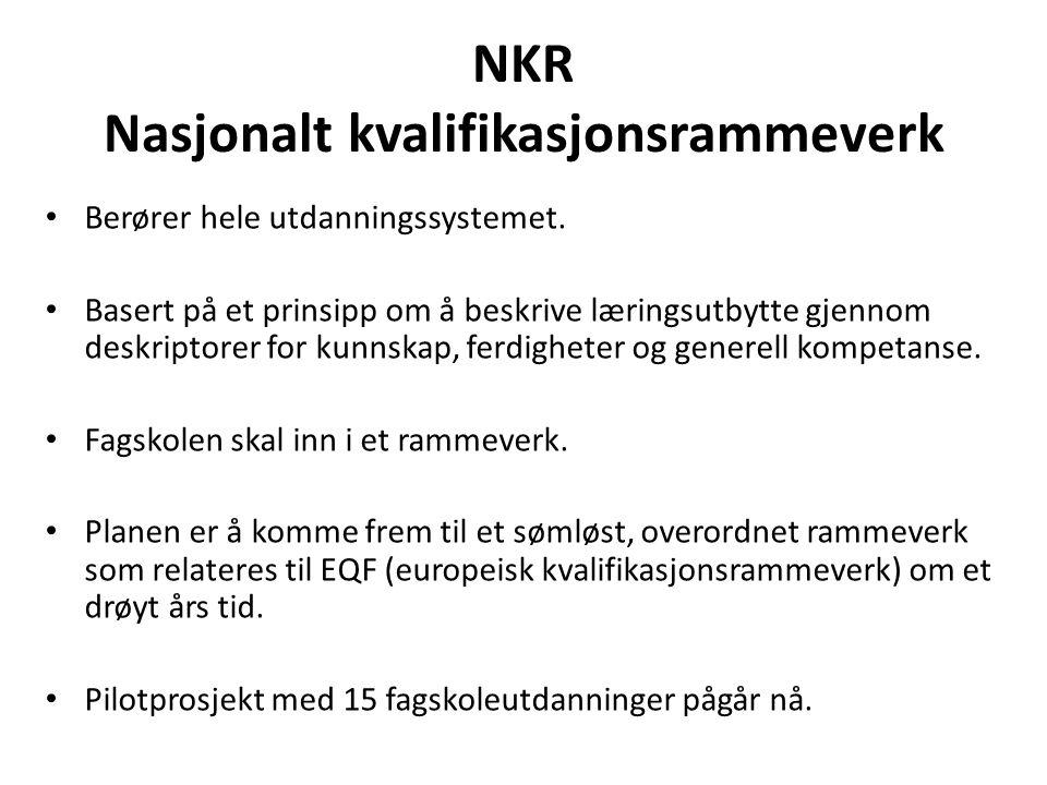 NKR Nasjonalt kvalifikasjonsrammeverk