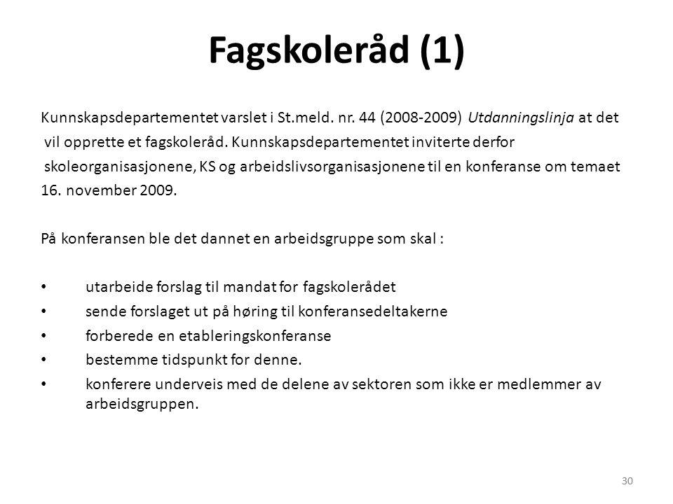 Fagskoleråd (1) Kunnskapsdepartementet varslet i St.meld. nr. 44 (2008-2009) Utdanningslinja at det.
