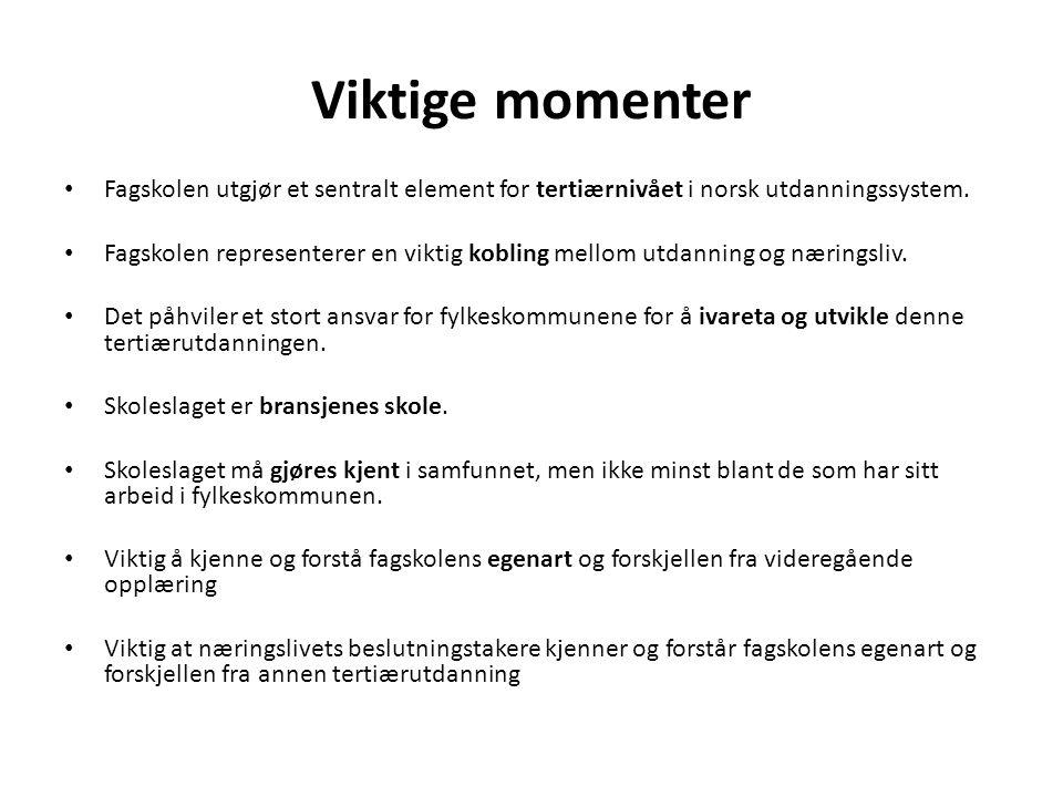 Viktige momenter Fagskolen utgjør et sentralt element for tertiærnivået i norsk utdanningssystem.
