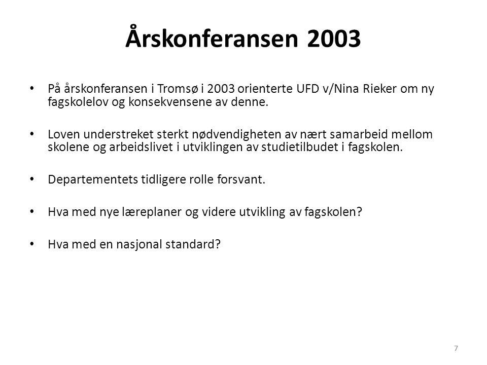 Årskonferansen 2003 På årskonferansen i Tromsø i 2003 orienterte UFD v/Nina Rieker om ny fagskolelov og konsekvensene av denne.