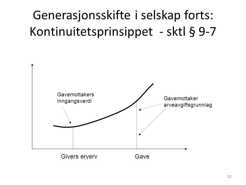 Generasjonsskifte i selskap forts: Kontinuitetsprinsippet - sktl § 9-7