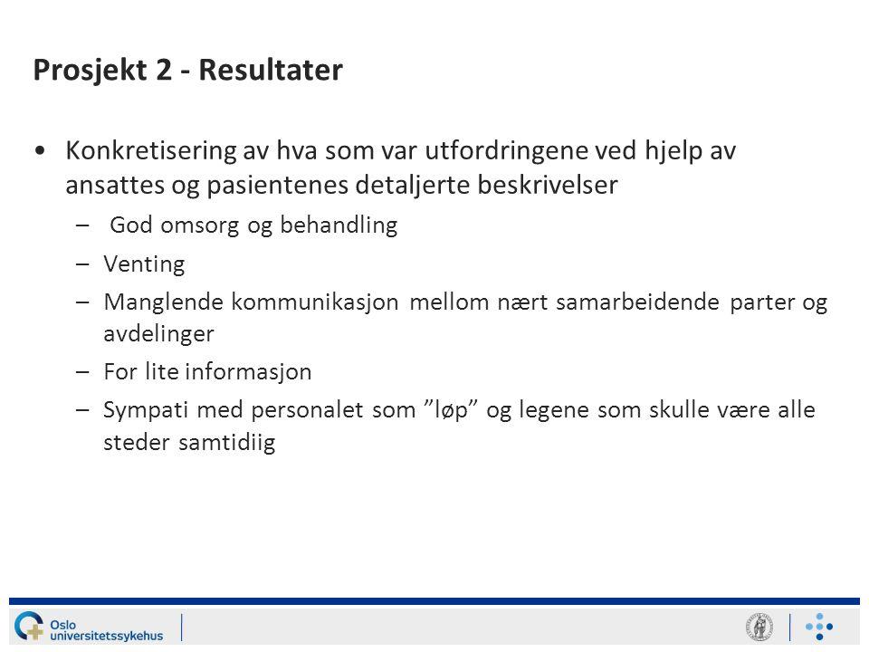Prosjekt 2 - Resultater Konkretisering av hva som var utfordringene ved hjelp av ansattes og pasientenes detaljerte beskrivelser.
