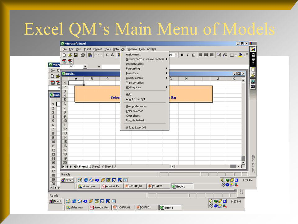 Excel QM's Main Menu of Models