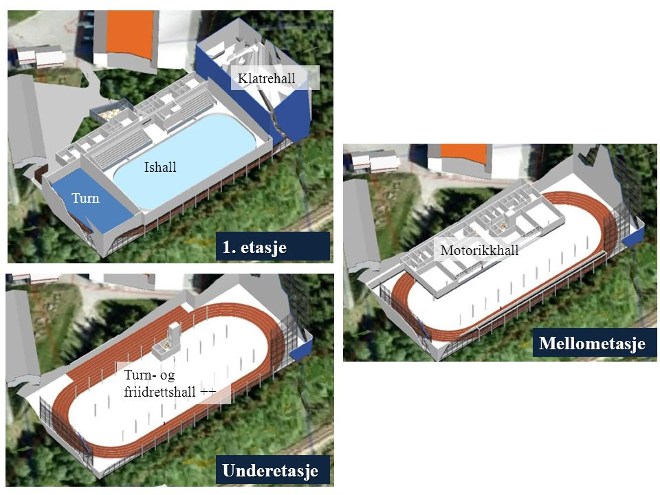 1. etasje Mellometasje Underetasje Klatrehall Ishall Turn Motorikkhall