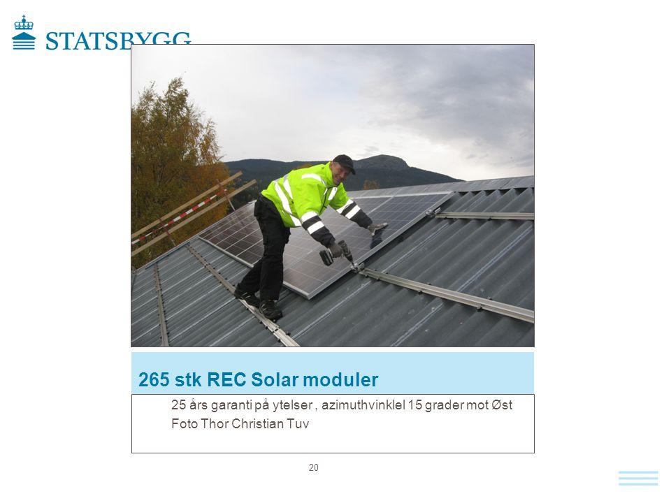 265 stk REC Solar moduler 25 års garanti på ytelser , azimuthvinklel 15 grader mot Øst.