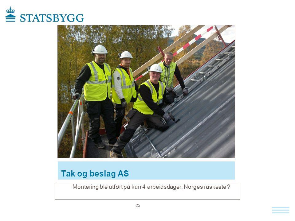 Tak og beslag AS Montering ble utført på kun 4 arbeidsdager, Norges raskeste