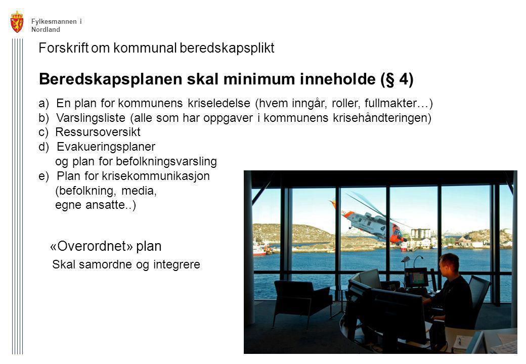 Beredskapsplanen skal minimum inneholde (§ 4)