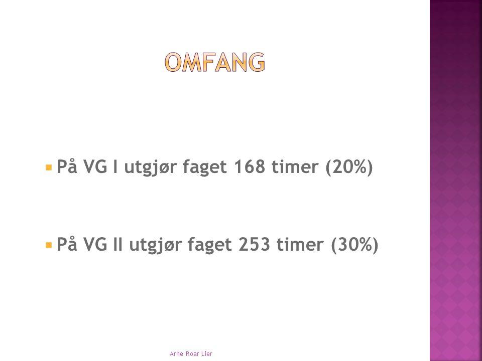 Omfang På VG I utgjør faget 168 timer (20%)