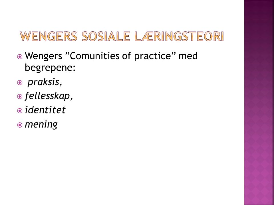Wengers sosiale læringsteori