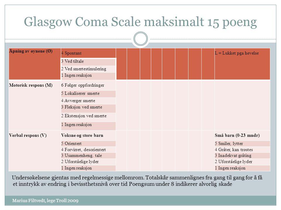 Glasgow Coma Scale maksimalt 15 poeng