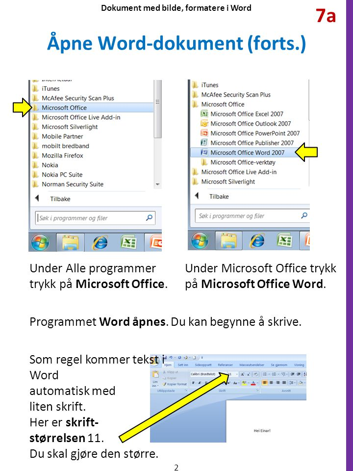 Åpne Word-dokument (forts.)