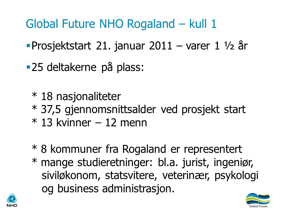 Global Future NHO Rogaland – kull 1