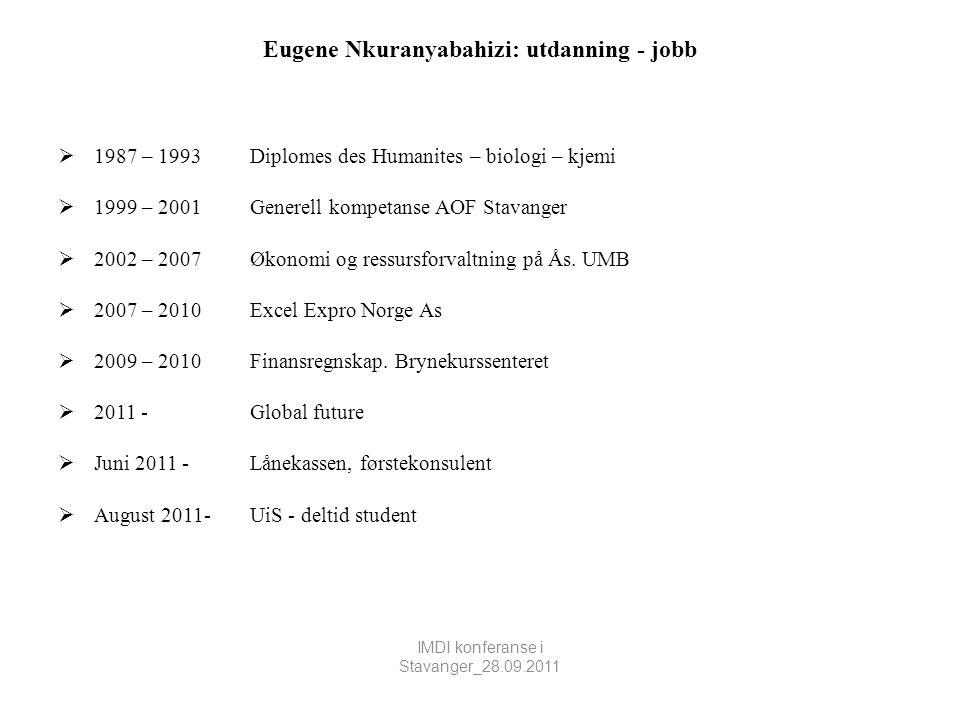 Eugene Nkuranyabahizi: utdanning - jobb