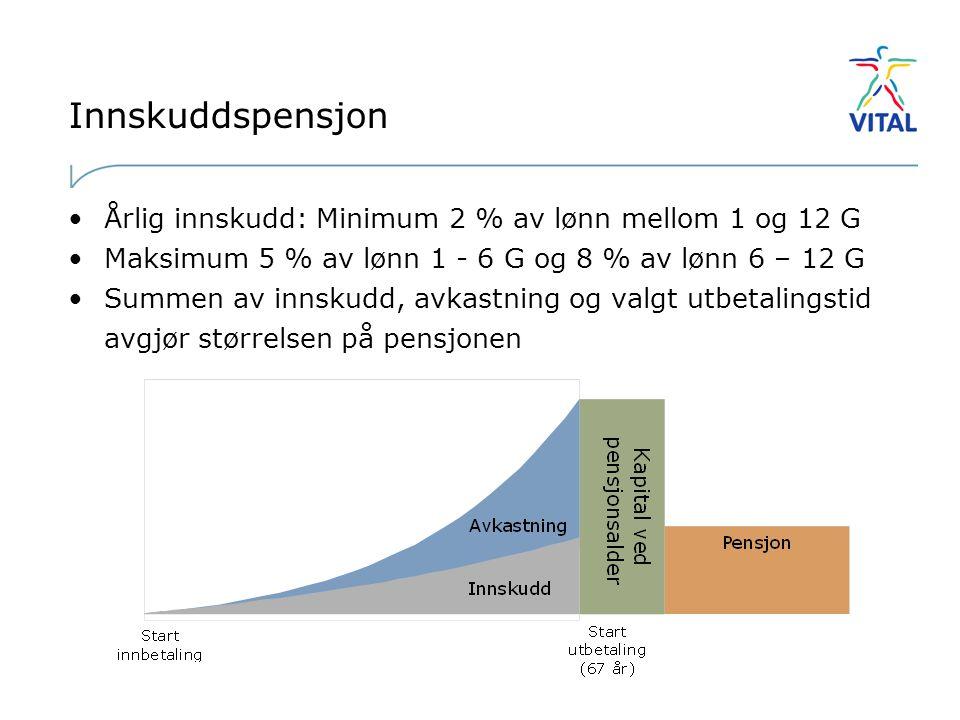 Innskuddspensjon Årlig innskudd: Minimum 2 % av lønn mellom 1 og 12 G