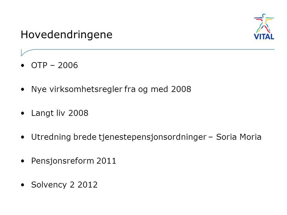 Hovedendringene OTP – 2006 Nye virksomhetsregler fra og med 2008