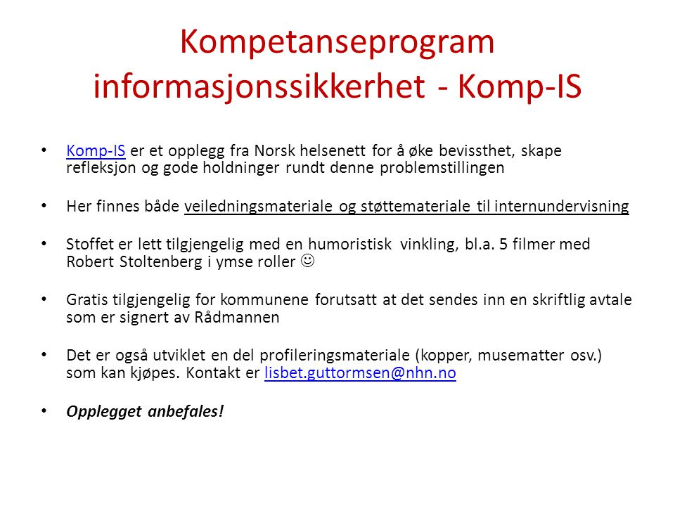Kompetanseprogram informasjonssikkerhet - Komp-IS