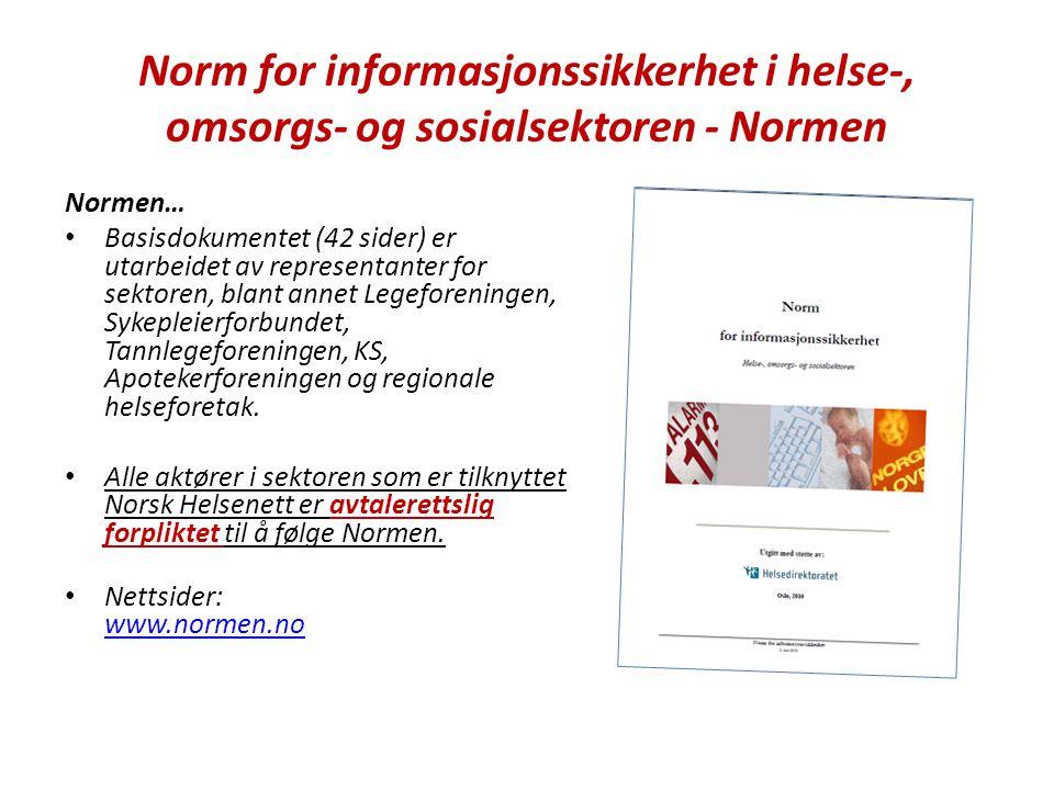 Norm for informasjonssikkerhet i helse-, omsorgs- og sosialsektoren - Normen