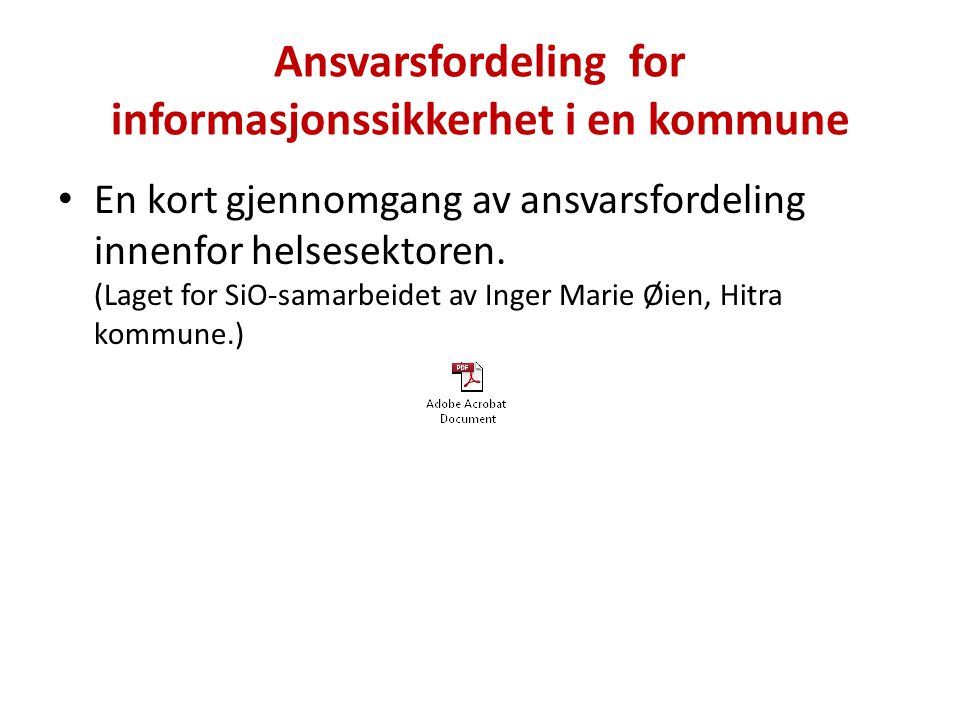 Ansvarsfordeling for informasjonssikkerhet i en kommune