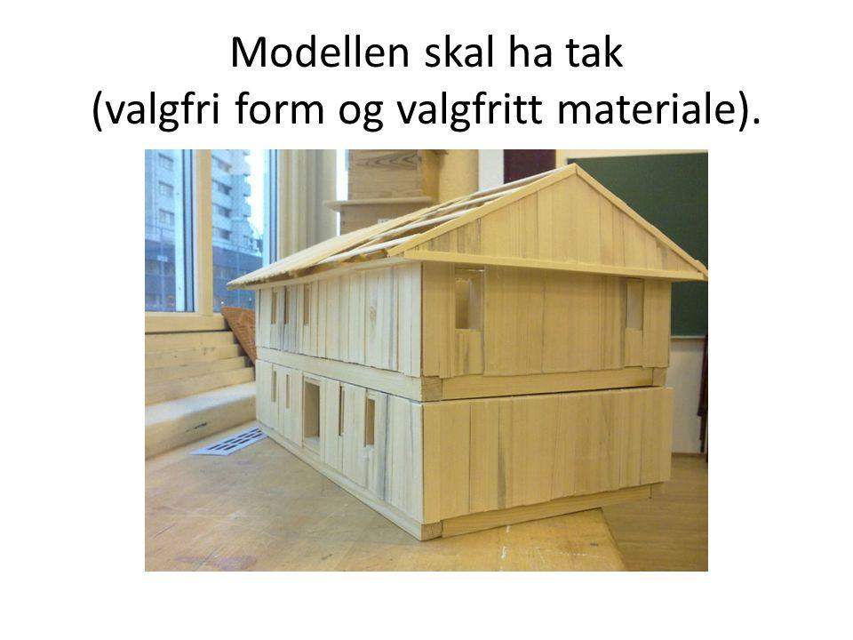 Modellen skal ha tak (valgfri form og valgfritt materiale).
