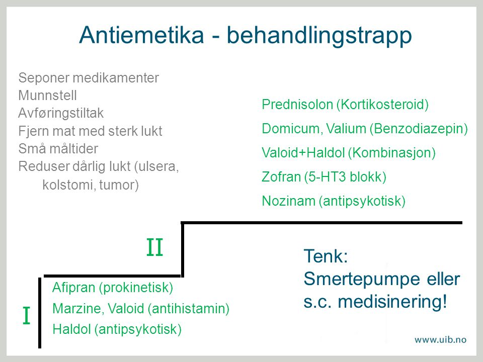 Antiemetika - behandlingstrapp