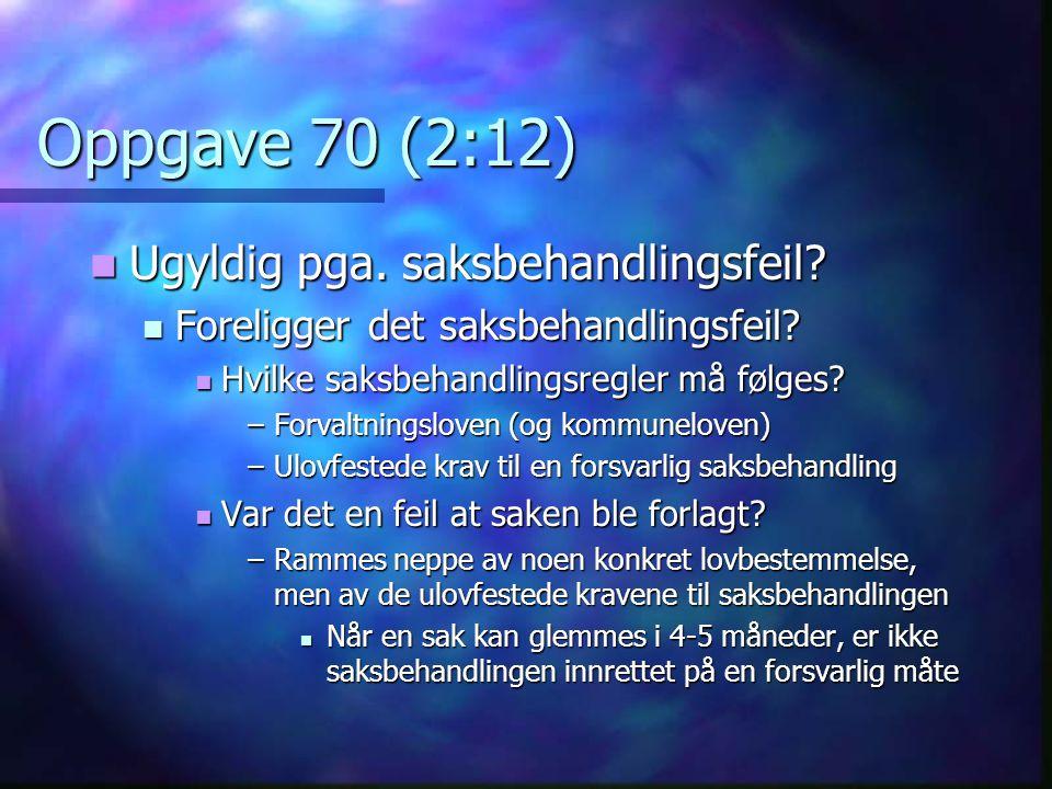 Oppgave 70 (2:12) Ugyldig pga. saksbehandlingsfeil