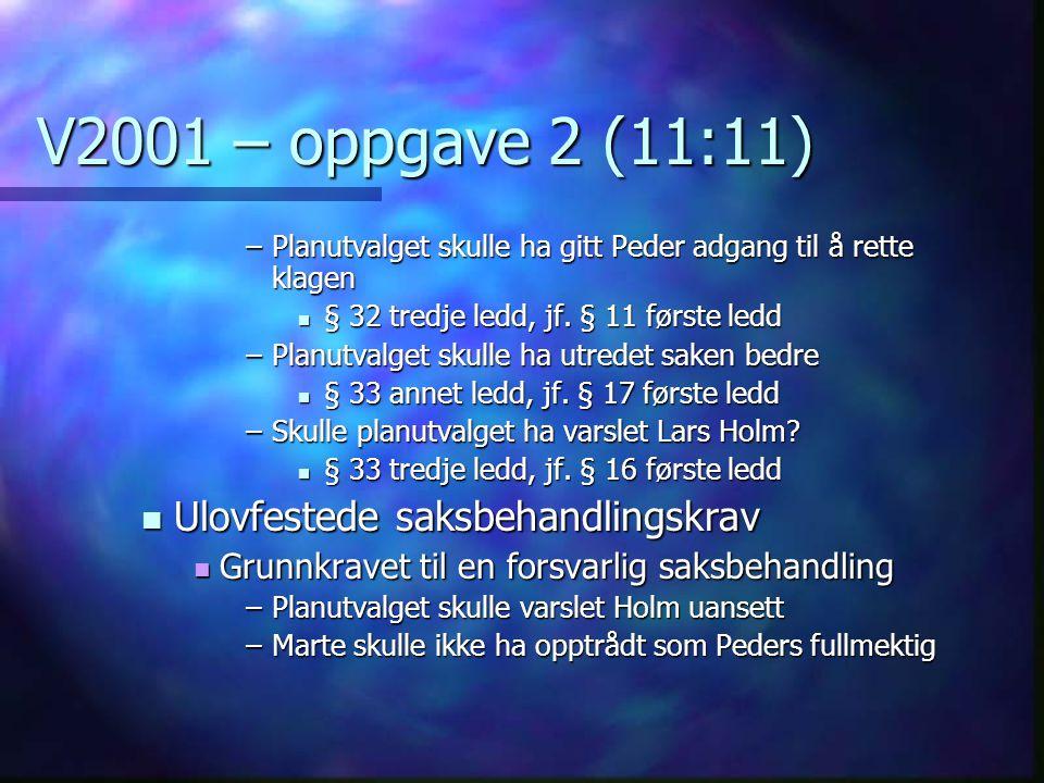 V2001 – oppgave 2 (11:11) Ulovfestede saksbehandlingskrav