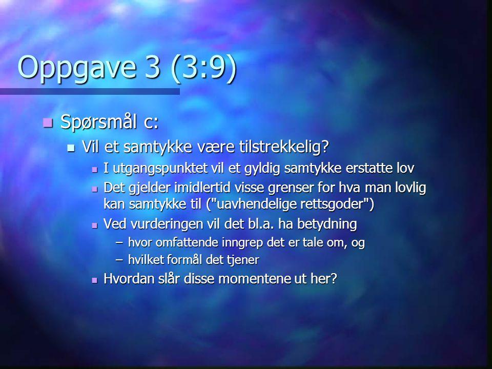 Oppgave 3 (3:9) Spørsmål c: Vil et samtykke være tilstrekkelig