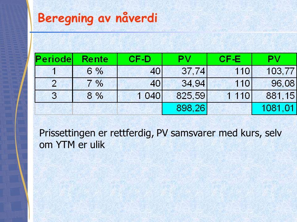Beregning av nåverdi Prissettingen er rettferdig, PV samsvarer med kurs, selv om YTM er ulik