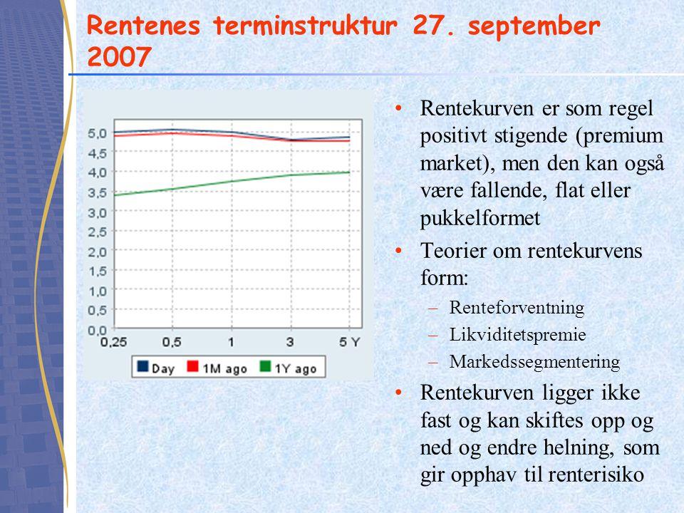 Rentenes terminstruktur 27. september 2007
