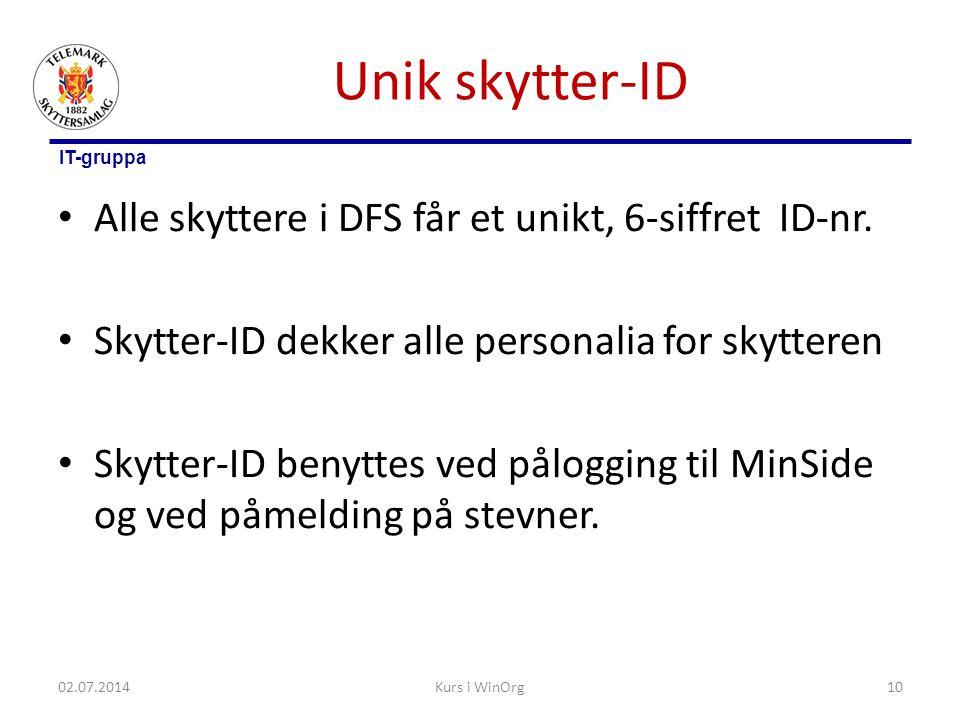 Unik skytter-ID Alle skyttere i DFS får et unikt, 6-siffret ID-nr.