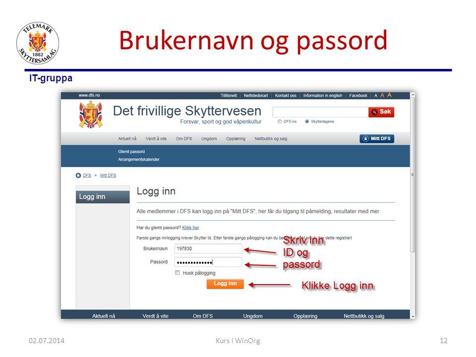 Brukernavn og passord 03.04.2017 Kurs i WinOrg