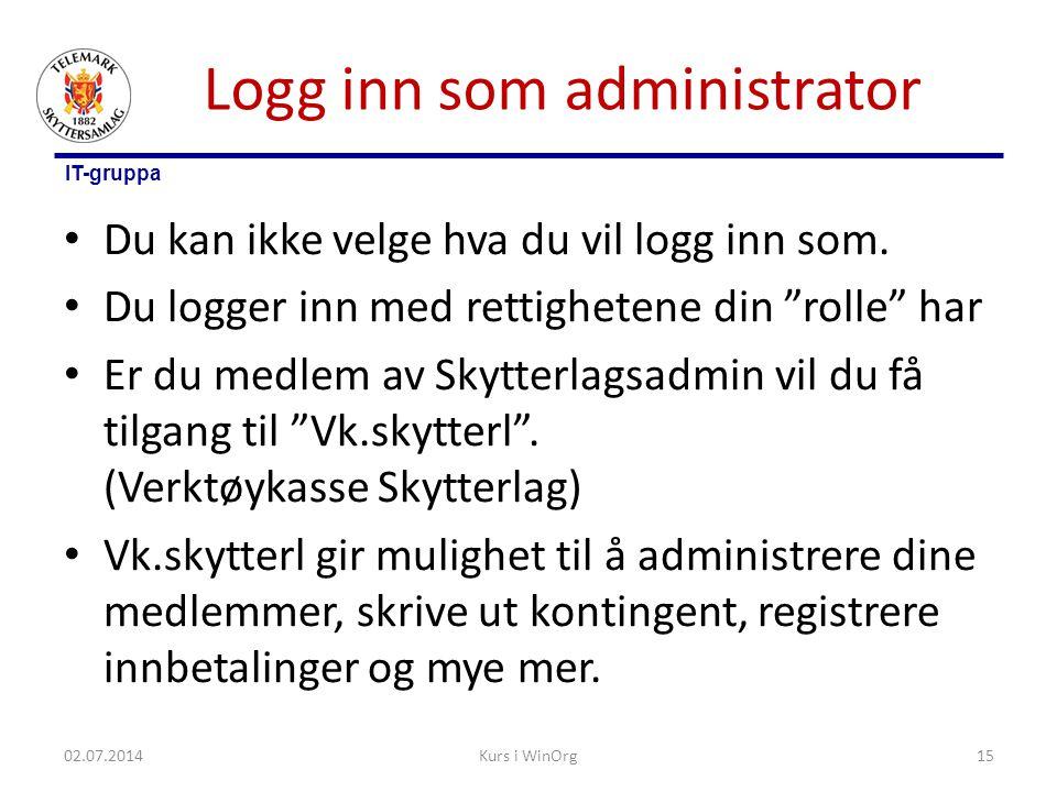 Logg inn som administrator