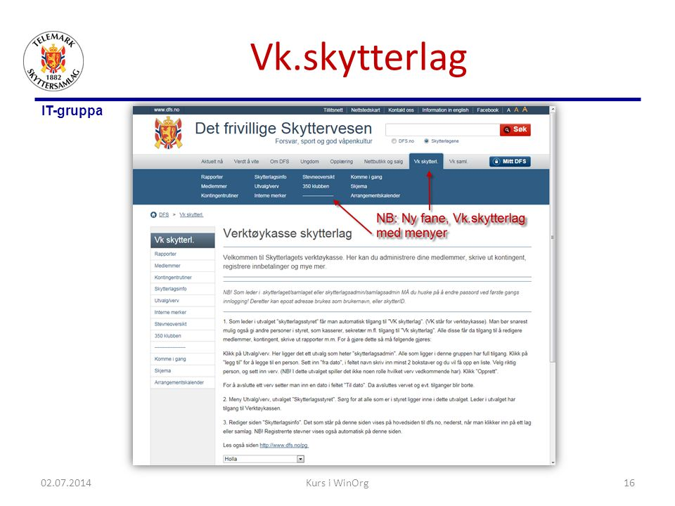 Vk.skytterlag 03.04.2017 Kurs i WinOrg
