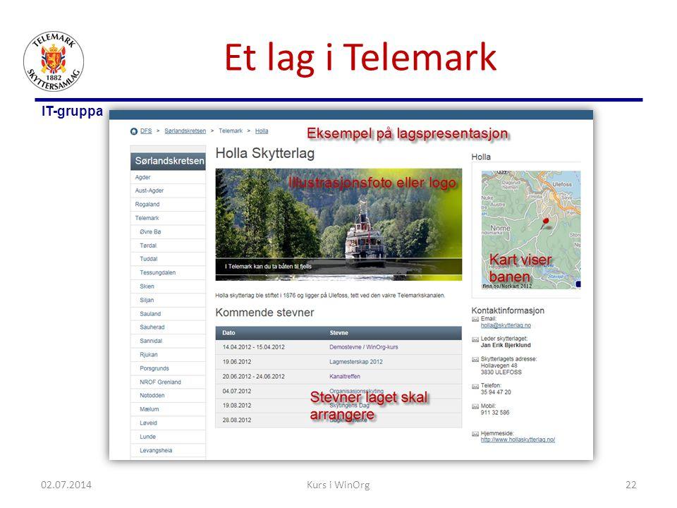 Et lag i Telemark 03.04.2017 Kurs i WinOrg