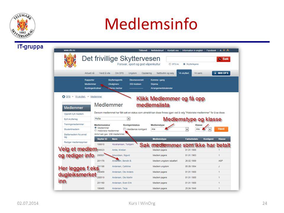 Medlemsinfo Klikk på et medlem og vis hvordan medlemsinformasjon oppdateres og merker registreres. 03.04.2017.