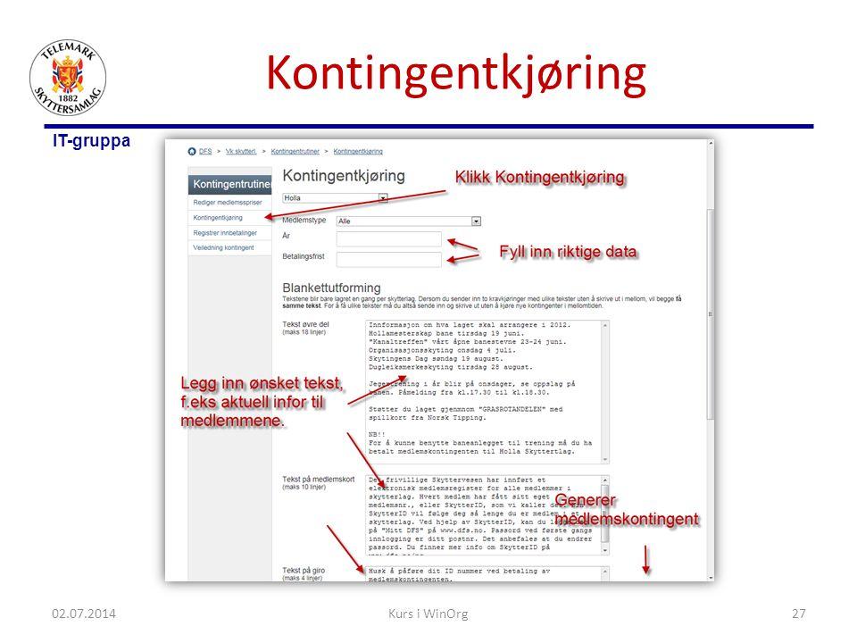 Kontingentkjøring 03.04.2017 Kurs i WinOrg