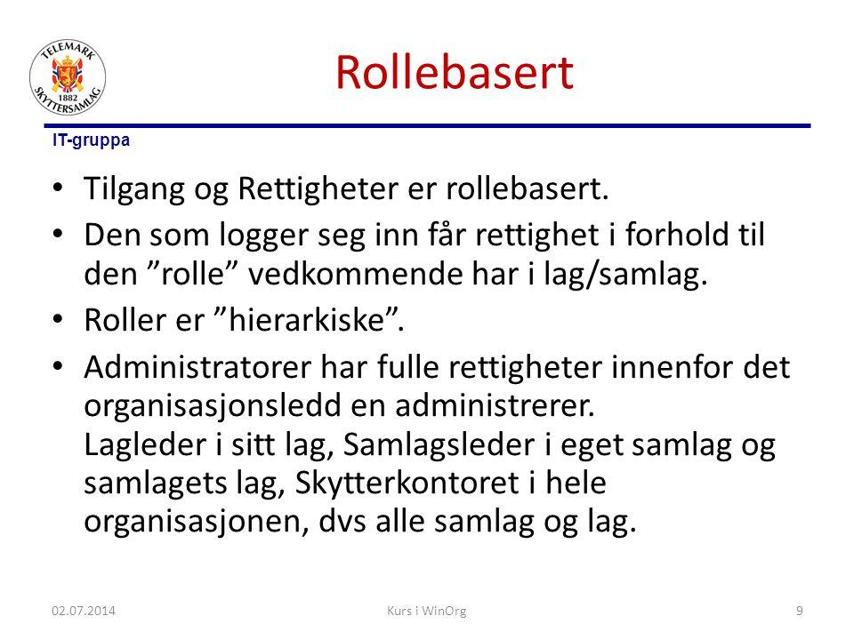 Rollebasert Tilgang og Rettigheter er rollebasert.