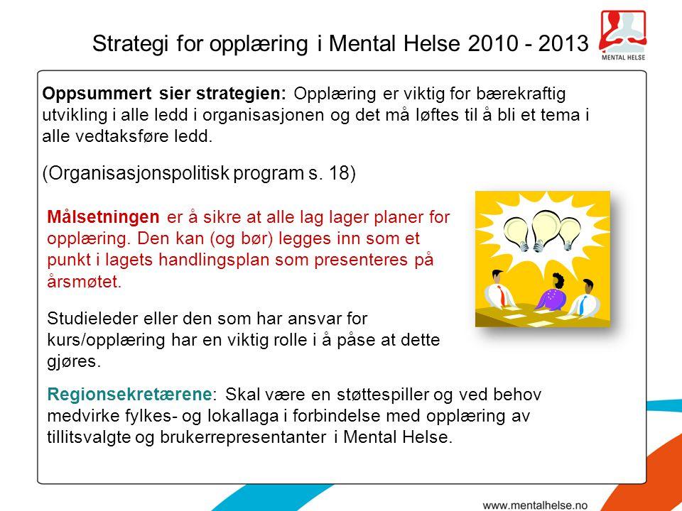 Strategi for opplæring i Mental Helse 2010 - 2013