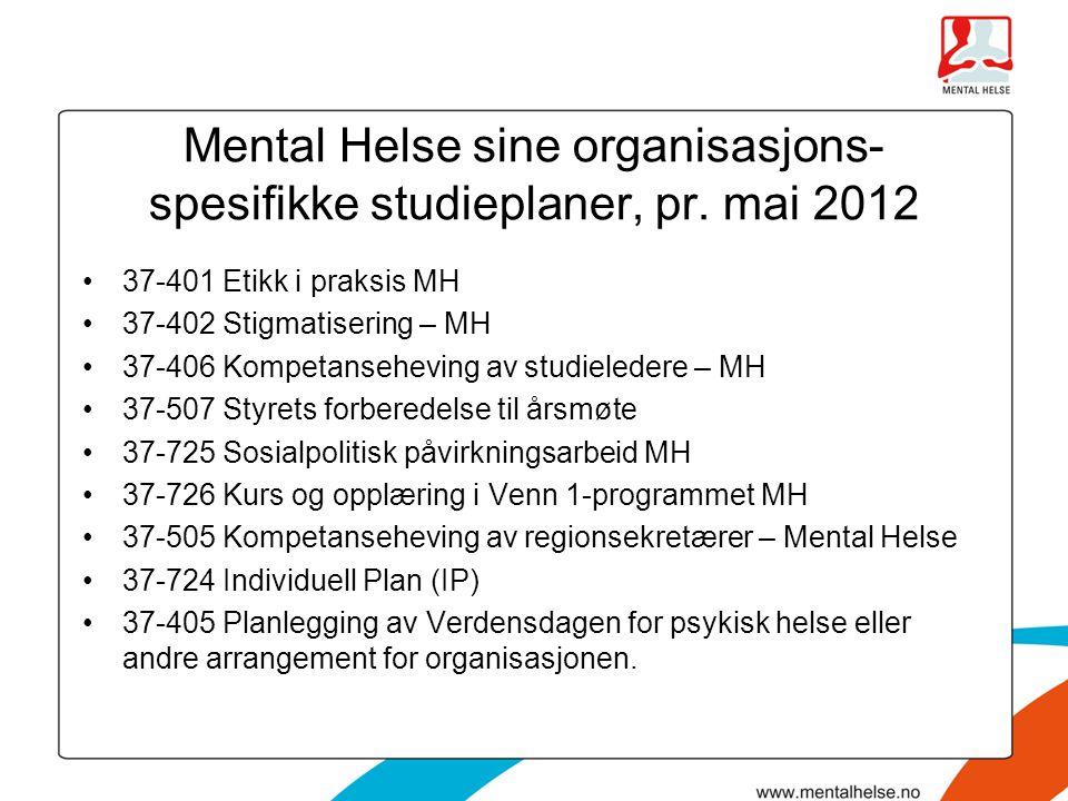 Mental Helse sine organisasjons-spesifikke studieplaner, pr. mai 2012