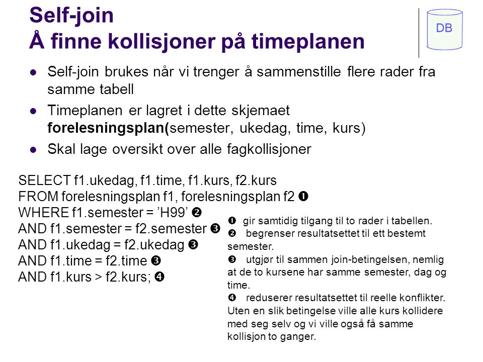 Self-join Å finne kollisjoner på timeplanen