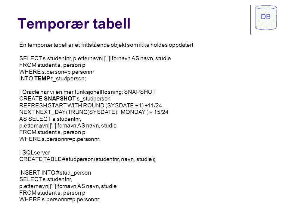 Temporær tabell En temporær tabell er et frittstående objekt som ikke holdes oppdatert.