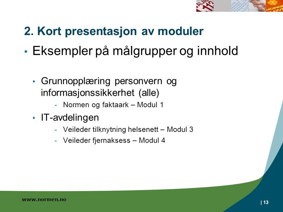 2. Kort presentasjon av moduler