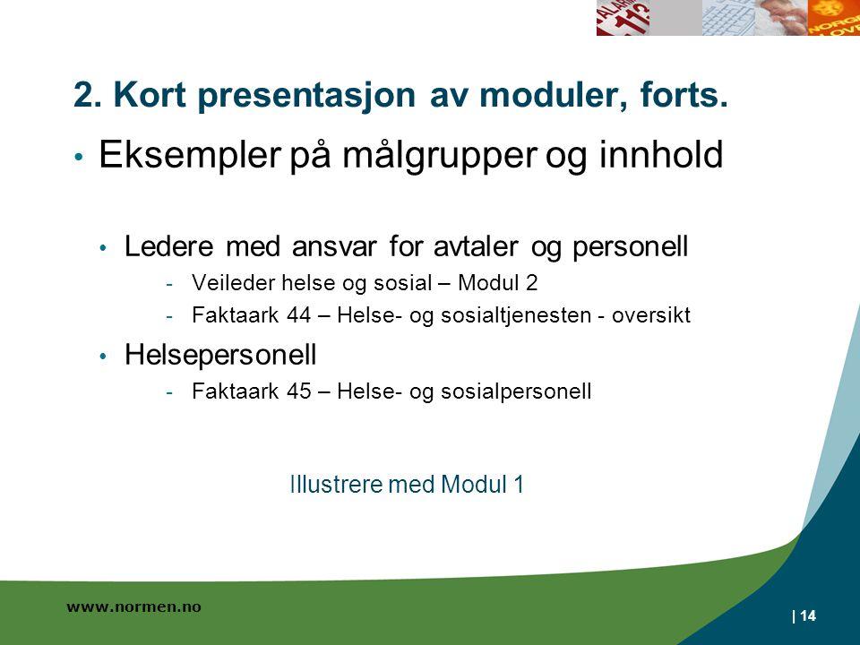 2. Kort presentasjon av moduler, forts.