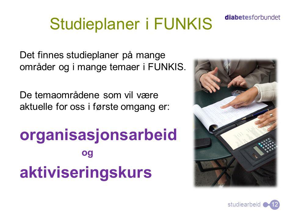 Studieplaner i FUNKIS organisasjonsarbeid aktiviseringskurs