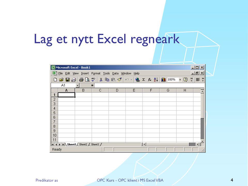 Lag et nytt Excel regneark