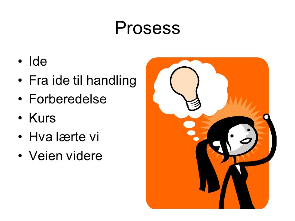 Prosess Ide Fra ide til handling Forberedelse Kurs Hva lærte vi