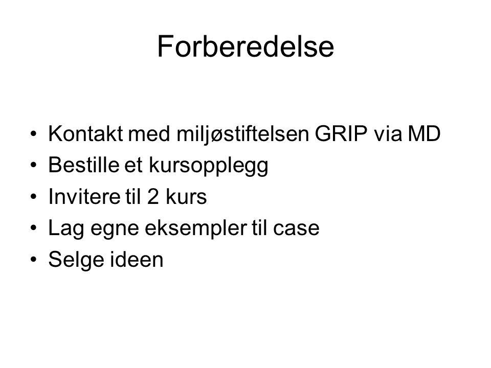 Forberedelse Kontakt med miljøstiftelsen GRIP via MD