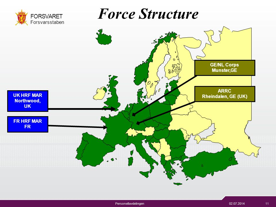 Force Structure GE/NL Corps Munster,GE ARRC Rheindalen, GE (UK)