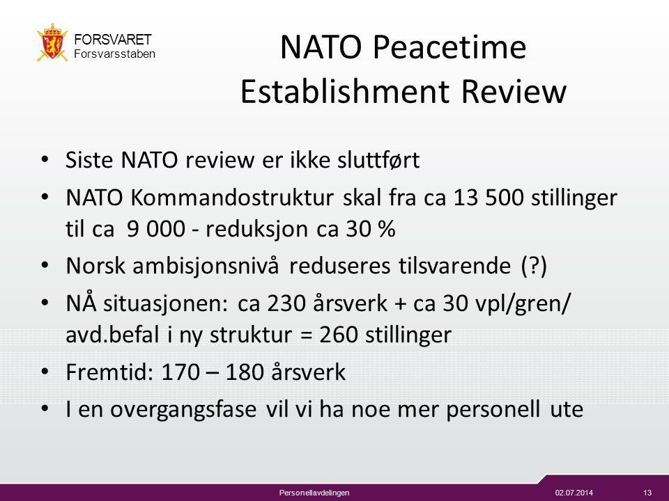 NATO Peacetime Establishment Review